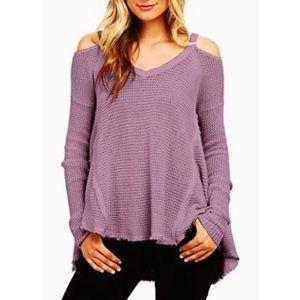 Free People Moonshine Cold Shoulder purple sweater